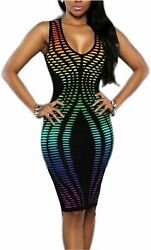 Vivilover Women#x27;s Sexy V Neck Party Dresses Sleeveless Multi 1 Size X Large qc $9.99