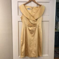 Kay Unger Gold Dress Cocktail Size 10 Knee Length Sleeveless FLATTERING $29.99