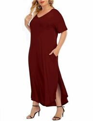 Women#x27;s Short Sleeve Plus Size Maxi Dresses Casual Burgundy Size XXX Large hUM $11.00