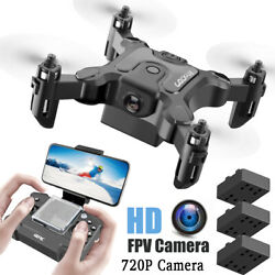 Quadcopter Drone 720P HD WIFI FPV Camera High Altitude Hold Foldable 3 Batteries $35.90