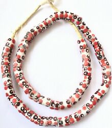 Handmade Cylinder White w Red Eye Recycled glass African trade beads Ghana Beads $11.16