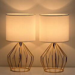 Set of 2 Gold Table Lamps Desk Beside Nightstand Lamp Hollowed Out Base Bedroom $39.99