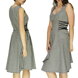 Dr FAUST DOGTOOTH DESIGNER MIDI DRESS with RIBBON LATTICE VINTAGE ALTERNATIVE