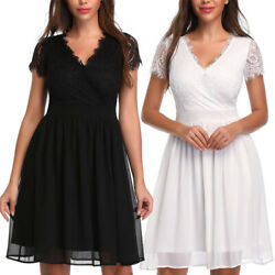Women V neck Lace Dresses Short Sleeve Casual Summer Party Wedding A line Dress $13.99