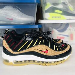 Nike Air Max 98 quot;New Yearquot; Black Cork Red CT1173 001 Running Shoes Men#x27;s Size 9 $119.97