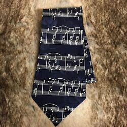 Designs by A. R Men#x27;s Silk Tie Navy Music Notes Novelty Teacher Traditional $12.74