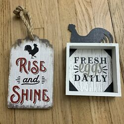 Farmhouse Wood Rustic Signs ❤️ ROOSTER Black And White Eggs Rise And Shine $16.99