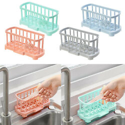 Countertop Kitchen Sink Caddy Drainage Sponge Soap Brush Holder with Drain Pan $9.16