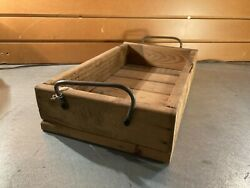Small Crate Wood Tray w Metal Handles A $20.00