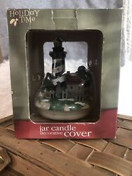 Lighthouse Holiday Time Jar Candle Decorative Cover $12.00