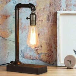 Industrial Retro Table Desk Lamp Steampunk Pipe Beside Nightstand Light Dorm $15.99