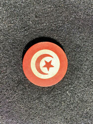 Red Antique Crecent Moon amp; Star Poker Chip Clay Vintage Rare Old Gambling Game $3.99