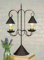 Rustic DOUBLE LAMP With HANGING SHADE Country Farmhouse Primitive Brown Colonial $44.99