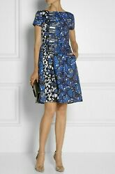 SALE ✔$2400 OSCAR DE LA RENTA BEAUTIFUL FLORAL IVORY BLUE RUNWAY DRESS US 4