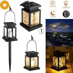 Solar Hanging Lantern Outdoor Candle Effect Light LED String Lights with Stake $14.95