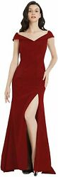 Women#x27;s Evening Gown Formal Dresses Off Shoulder Side Burgundy Size Small 2l8h $9.99