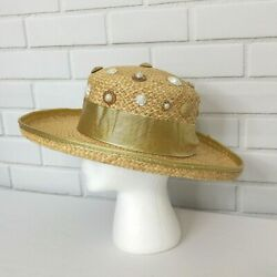 Vintage Deborah Rhodes Mocha Hat Woven Boater Straw USA Made Gold Embellished $19.99