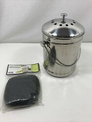 Stainless Steel Compost Bin 1.3 Gallon Charcoal Filter amp; 2 New Filters $23.00