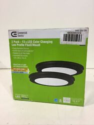 Commercial Electric 13 in. Oil Rubbed Bronze Color Changing LED Flush Mount 2Pk