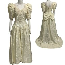 Vintage Bridal Wedding Gown dress embroidery Union Made USA size 16 $248.89