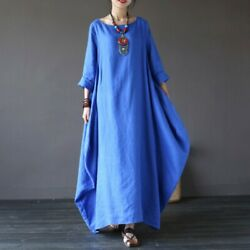 Plus Women Boho Cotton Linen Long Sleeve Kaftan Vintage Casual Loose Maxi Dress $12.34