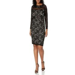 NWT Marina Sequin Lace Cocktail 12 Dress Illusion $54.99