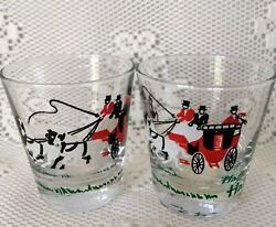 Vintage Set Of 2 Libbey Stagecoach Half Way 6 oz. Cocktail On The Rocks Glasses $9.99