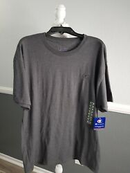 Champion Large Mens Classic Jersey Tee Gray T Shirt Athletic Fit Short Sleeve $14.39