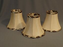 Mini chandelier clip on lamp shade silk lined pattern 5 6quot; wide set of 3 $33.99
