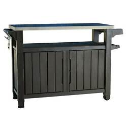 Keter Unity XL 78 Gal Patio Storage Unit BBQ Grilling Bar Cart Open Box $259.99