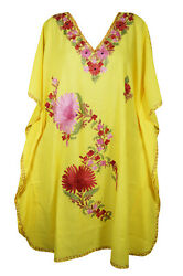 Womens Embellished Floral Short Caftan Yellow Loose Beach Cover Up Dresses 3XL $28.57