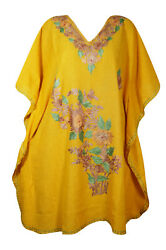 Women#x27;s Yellow Embellished Floral Short Caftan Loose Beach Cover Up Dresses 3XL $28.87