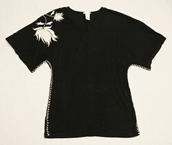 Monroe amp; Main Women#x27;s Floral Sleeve Stitch Detail V Neck Blouse DG4 Black Large $19.99