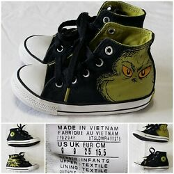 Converse All Star Toddler Boy#x27;s Size 9 Dr. Suess Grinch High Top Shoes $39.95