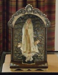 Virgin Mary Our Lady of Fatima Shrine Madonna Doves Wall Hanging Antique $300.00
