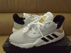 Adidas Pro Bounce 2019 Low Men#x27;s Size 8.5 Shoes White Black Gold EF0472 NEW $47.99