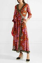 Rhode Resort Lena Wrap Midi Dress Tassel Floral Printed Pocket New S 216750 $229.95