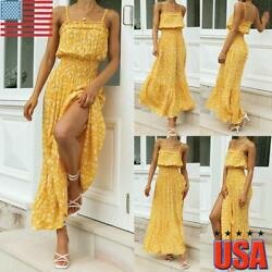 Summer Women Boho Holiday Strappy Floral Maxi Beach Sundress Party Long Dresses $19.69