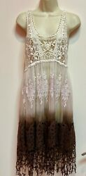 Origami by Vivien Lace Dress Cover Up Sheer Crochet Boho Size M L $22.50