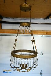 Antique Victorian Hanging Oil Lamp Frame Chain Retractor amp; Crystal Teardrops $199.95