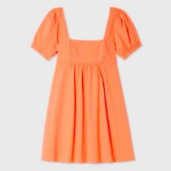 Women#x27;s Wild Fable Short Sleeve Dress Orange dress Small dress NEW 1020