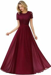 MisShow Women#x27;s Lace Floral Long Prom Maxi Dress Short Sleeve Burgundy Size U