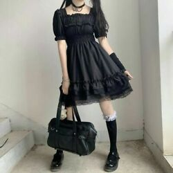 Women Gothic Dress Lolita Lady Cute Black Puff Sleeve Retro Girl Cosplay Ruffle