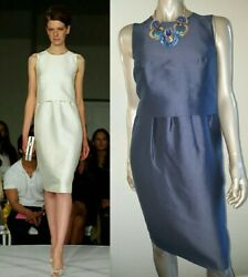 $3000 OSCAR DE LA RENTA ADOREABLE SILK LINED BLUE RUNWAY DRESS US 6