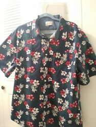 Jachs New York Mens Short Hawiian Floral Sleeve Shirt Navy; Size XL $15.99