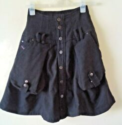 Diesel Black Utility Skirt Short Pockets Flare Cotton Wool Mix Sz 8 GBP 14.00