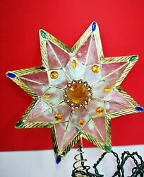 VINTAGE 10.5quot; CAPIZ JEWELED STAR Christmas Lighted TREE TOPPER UL0345 NEW $19.95