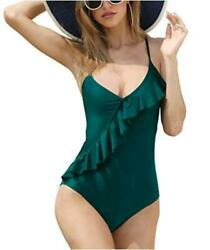 Swimsuits for WomenOne Piece Ruffled Flounceamp;Tummy Control Green Size 4.0 HWw $9.99