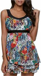 ReachMe Womens 2 Piece Swimsuits Tankini Top Set with 1 Flowers Size XX Large $11.93