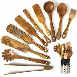 Wooden Cooking Utensils with HolderAcacia Wooden Slotted Spurtle Kitchen Sets $41.43